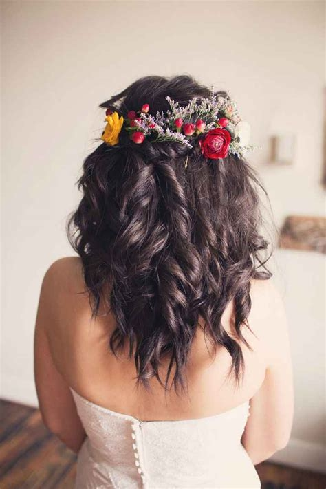 Wedding Hairstyles To The Side With Flower by Flower Crown Wedding Hairstyles For Brides And Flower