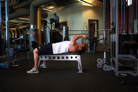 lying tricep cable extension flat bench cable lying triceps extension exercise guide and video