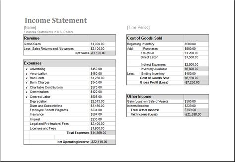 ms excel income statement editable printable template