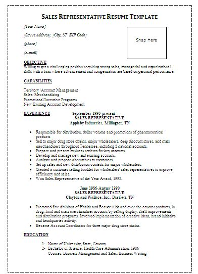 resume sles for experienced in word format sales representative resume template by formsword