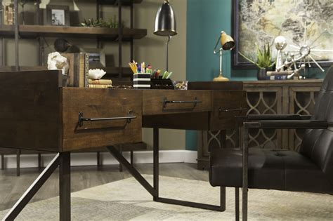 starmore 63 home office desk 63 quot contemporary three desk in walnut mathis