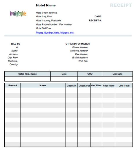 printable hotel receipts sle hotel receipt template 8 download free documents