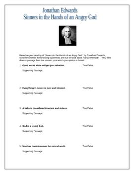 Sinners In The Of An Angry God Worksheet sinners in the of an angry god worksheet w answers