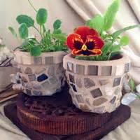 Mosaic Flower Pots Small Indoor Planter Set Succulent Pot - mosaic planter flower pot herb pot set from