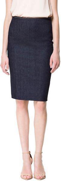 zara denim pencil skirt in blue blue lyst