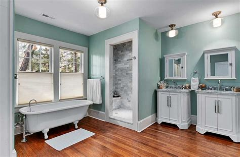 gray and blue bathroom design