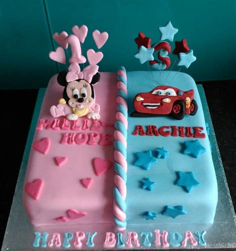 baby minnie mouse  cars    girls  boys cake cakes   twin birthday