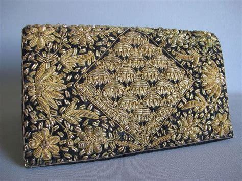 Vintage And Handmade - vintage handmade black velvet and gold embroidered purse