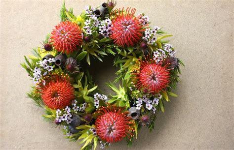 artificial australian native christmas wreath fresh summery wreath by swallows nest farm australian flowers