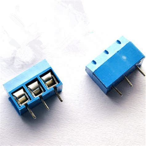 Pcb Connector 3 Pin 5mm Pitch Terminal Block Ctb5000 Blue 3 pin terminal block connector hobbytronics pakistan