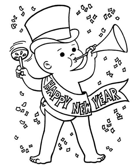 Happy New Year Printable Baby Country Victorian Times Happy New Year Coloring Pages