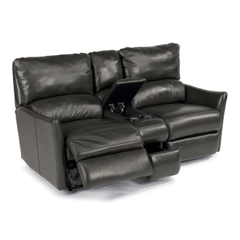 Flexsteel Reclining Loveseat With Console by Flexsteel 1711 604p Leather Power Reclining Loveseat