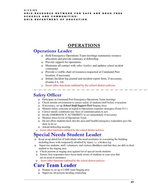 emergency plan template for schools the orn emergency plan template