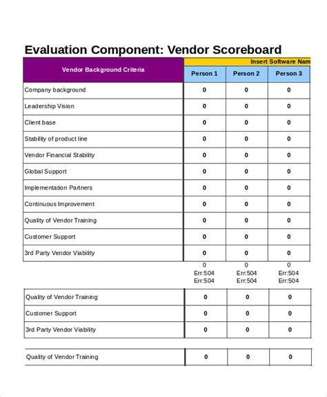 supplier scorecard template supplier scorecard template