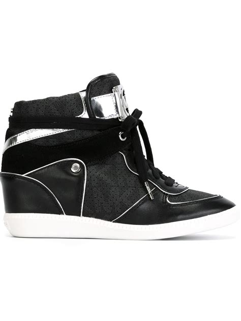 black michael kors sneakers michael kors black logo hi top sneakers lyst