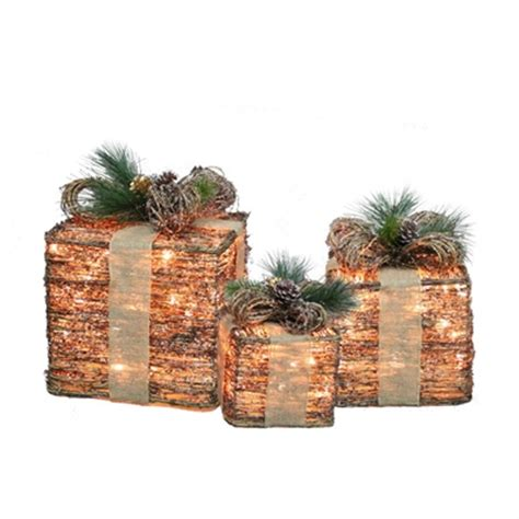holiday living 3 piece grapevine gift boxes outdoor