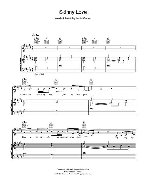 tutorial piano birdy skinny love skinny love sheet music by birdy piano vocal guitar
