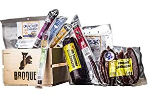 exotic meat crate exotic jerky gift jerky meat sticks sampler    wooden crate