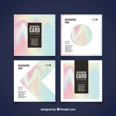 holographic cards templates free pack of four cards with holographic effect vector free