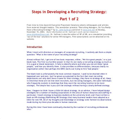 Recruitment Strategy Template 13 Free Word Pdf Documents Download Free Premium Templates Recruiting Text Templates