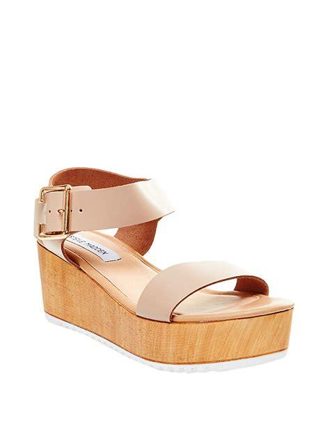 steve madden purple sandals lyst steve madden nylee leather platform wedge sandals