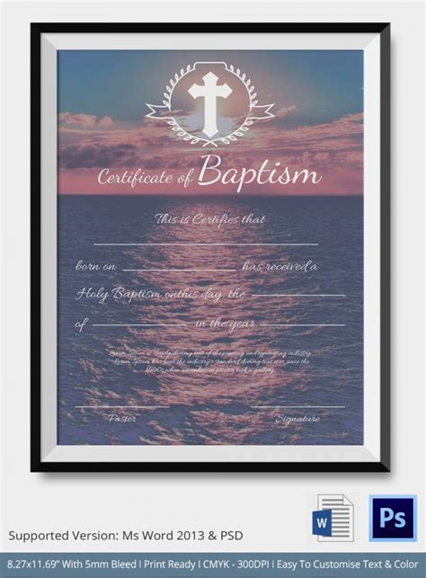 christian baptism certificate template sle baptism certificate 20 documents in pdf word psd