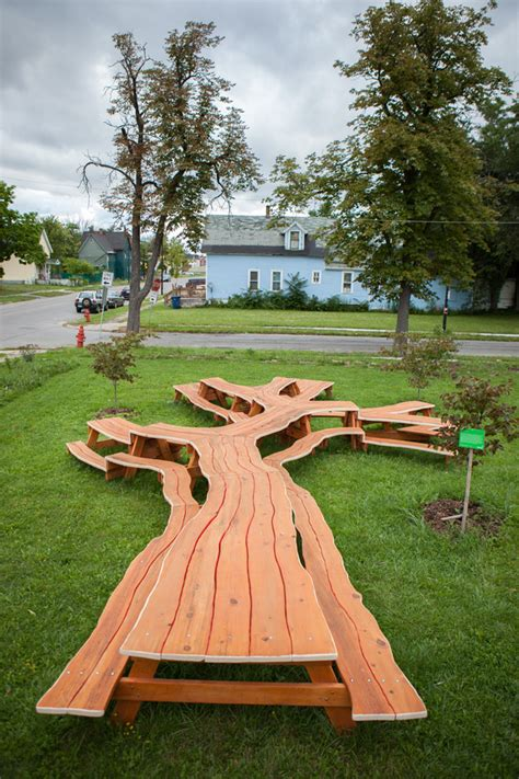 branching looping wooden tables  michael beitz colossal