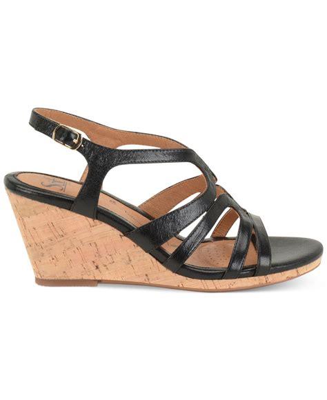 platform wedge sandals lyst s 246 fft corinth platform wedge sandals in black