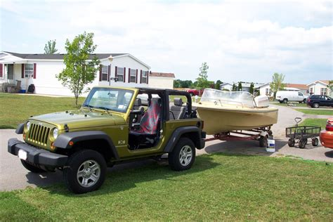 tow boat jeep wrangler towing a small utility trailer jk forum the top