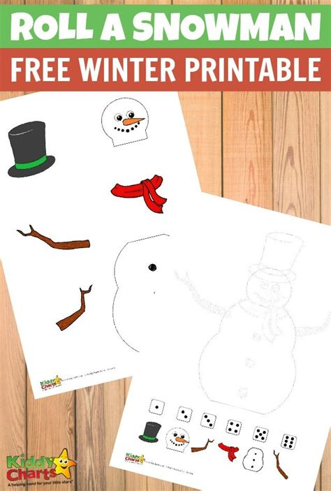 printable kindergarten dice games roll a snowman free winter printable