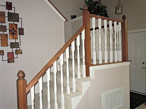 wooden banisters and handrails remodelaholic diy stair banister makeover using gel stain