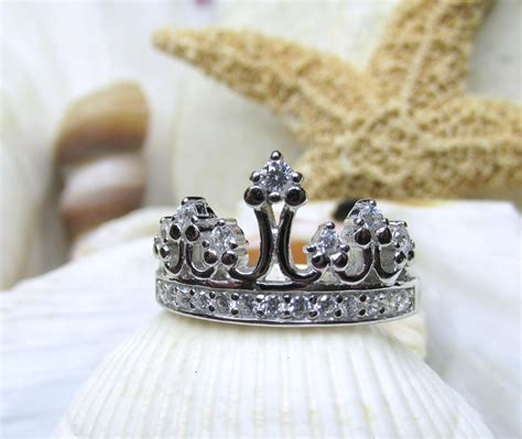 sterling silver and cz princess tiara crown ring size 7