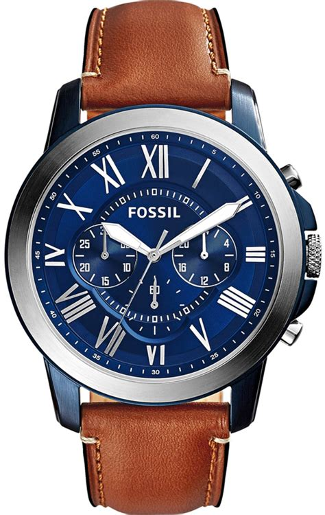 Fossil Grant Chronograph Black Silver Brown Leather Ori Bm fossil fs5151 gents grant