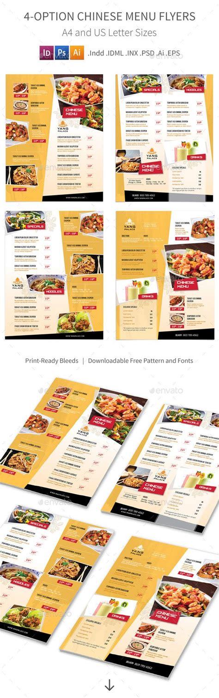 design restaurant menu indesign 4 options chinese restaurant menu flyers template psd