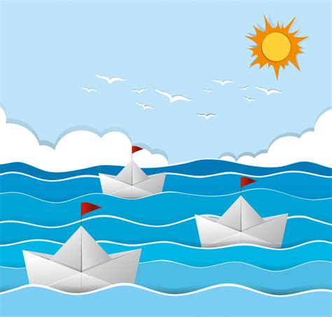 sailing boat origami origami boats sailing in the sea vector free download