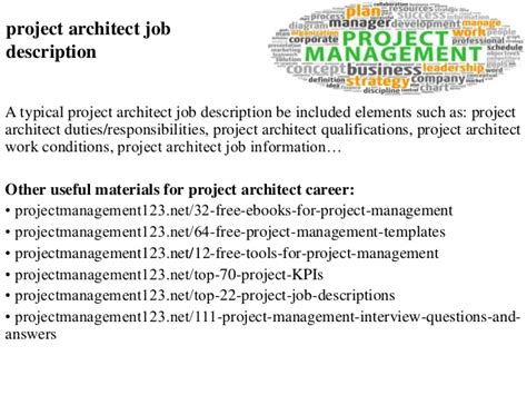 Architectural Project Manager Description by Project Architect Description