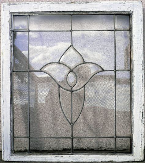 marvelous antique leaded glass window with stylized iris