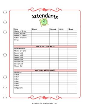 Wedding Planner Information by The Wedding Planner Attendants Worksheet Has Room For