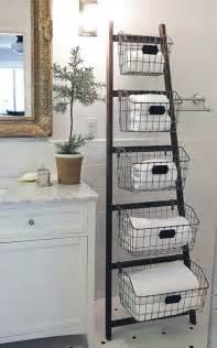 Eclectic bathroom storage ladder shelf