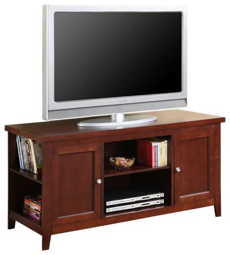 side shelves tv stand walnut finish traditional