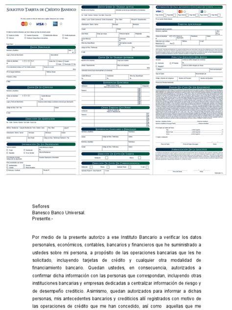 planillas de banesco planilla de solicitud de tarjeta de credito banesco banco
