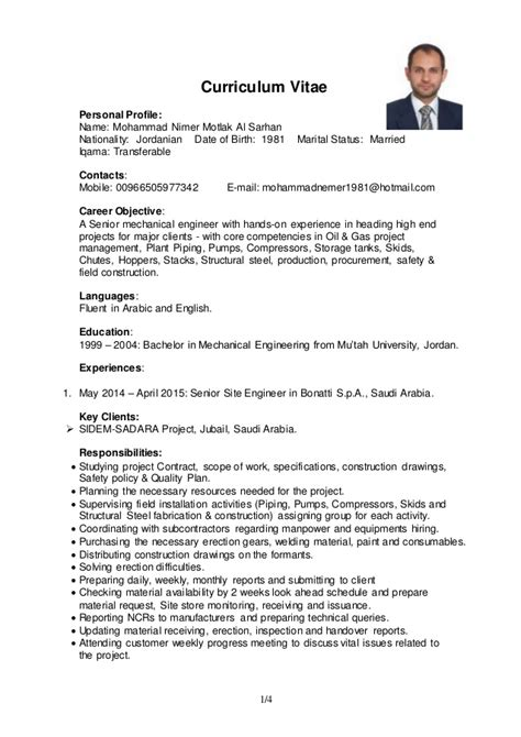 Site Engineer Resume Sample by Project Amp Site Engineer Mechanical Cv Mohammad Al Sarhan