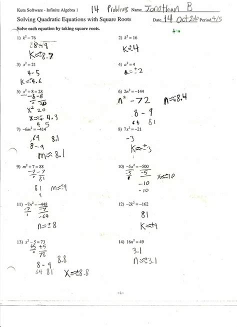 Quadratic Equations Worksheet by Quadratic Equations Worksheets Free Worksheets Library