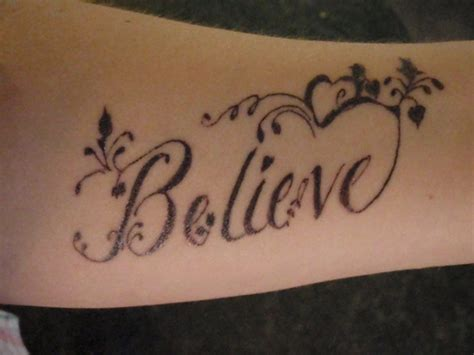 believe word tattoo designs believe ambigram