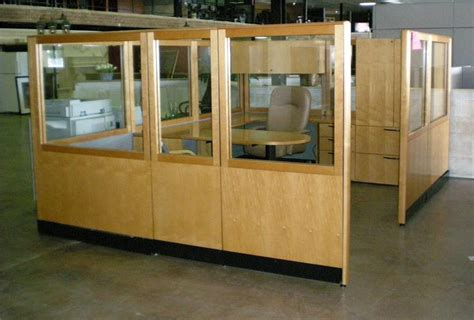 creating your own cubicle paradise used kimball glass and wood wall cubicle workstation 69