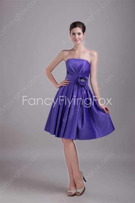 Handmade Bridesmaid Dresses - violet satin strapless neckline a line mini length junior