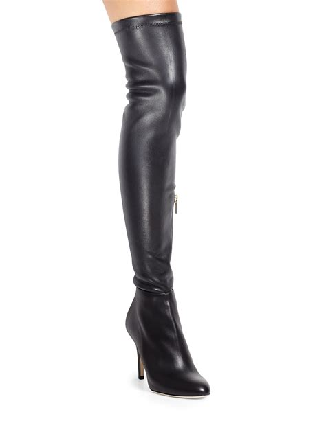 the knee leather boots jimmy choo toni leather the knee boots in black lyst