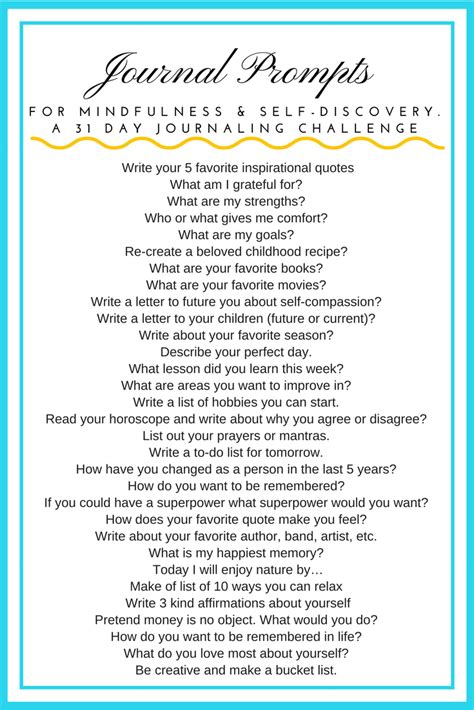 365 days of a journal of self discovery books journal prompts for mindfulness and self discovery 31 day