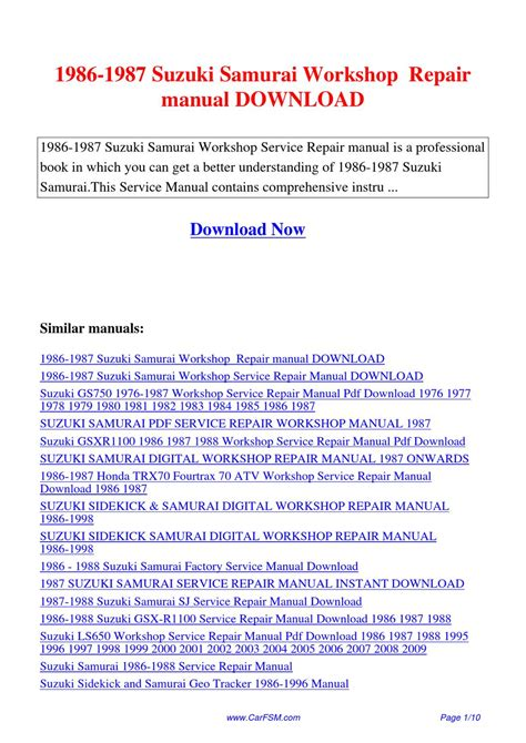 how to download repair manuals 1994 suzuki samurai parental controls 1986 1987 suzuki samurai workshop repair manual by hui zhang issuu