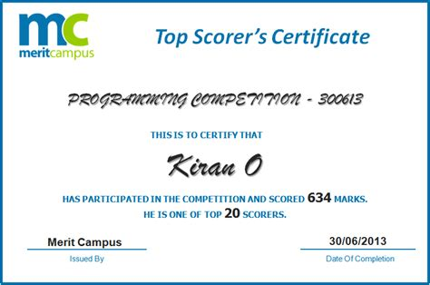a certificate of appreciation merit campus programming contest competitions java